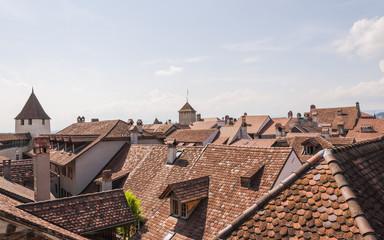 Murten, Altstadt, Stadt, Dächer, Schlossturm, Sommer, Schweiz