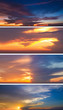 Collection of backgrounds with sunset sky
