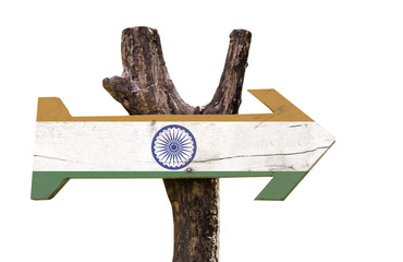 India wooden sign isolated on white background