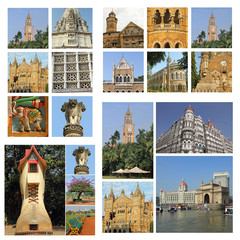group of images from Mumbai city, India, Asia