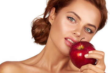 Sexy girl dark hair bare shoulders neck holding big red apple