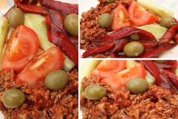 Thon à la tomate-Poivron rouge grillé-Olive cassée