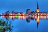 City port of Rostock by night