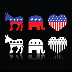 USA political parties symbols - Democrats and Republicans
