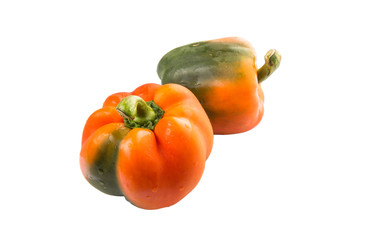 Orange capsicum on white background