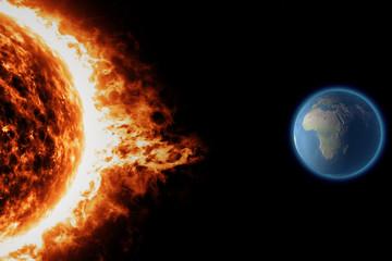 Sole, tempesta solare terra spazio universo