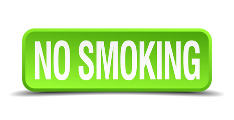 no smoking green 3d realistic square isolated button