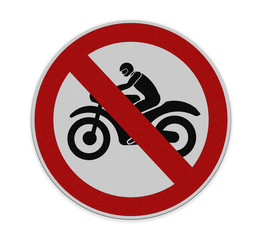 No motorcycle sign, isolated no bikes allowed prohibition zone w
