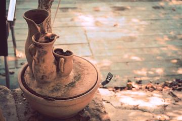 Three ceramic old jugs, Turkey. Toning in vintage
