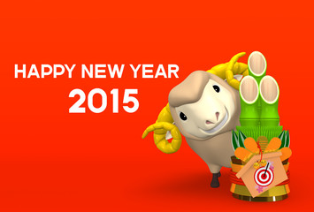 Sheep, Kadomatsu And New Year Greeting On Red