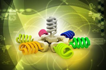 3d illustration of colorful light bulbs