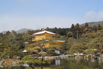 Kinkakuji temple with snow