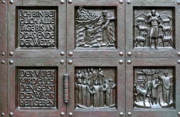 porte sculptée du Grossmünster à zurich