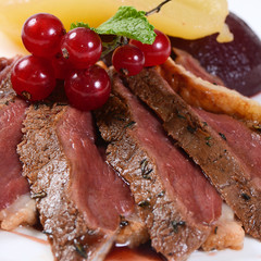 Duck breast in wine sauce