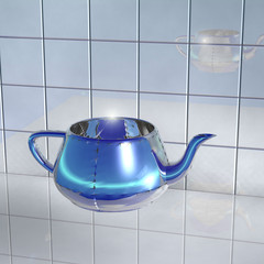 Transparent glass teapot with light blue light