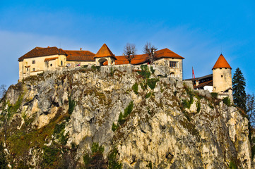 Bled Castle on the top of the Cliff
