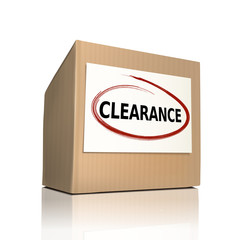 the word clearance on a paper box