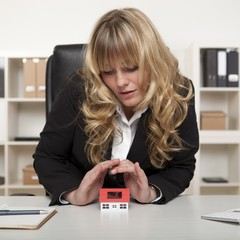 Corporate Woman Covering House Miniature Top