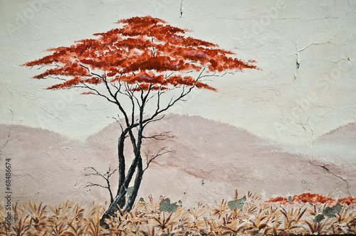 Urban Art - isolated tree in the savannah © pixarno