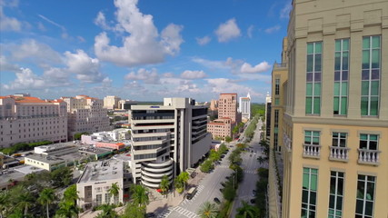 Aerial video Coral Gables buildings Miami