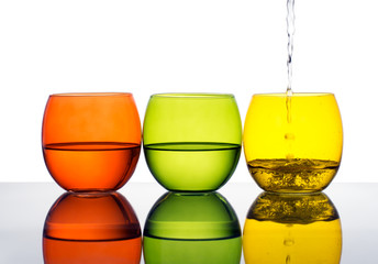 Glasses of water or dink, yellow, green, orange colours.
