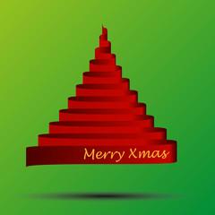 glossy red ribbon vector christmas tree