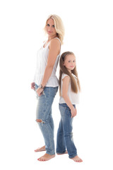 beautiful young mother posing with little daughter isolated on w