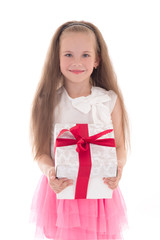 beautiful little girl with gift box isolated on white