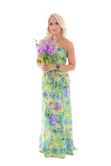 young beautiful blond in dress with summer flowers isolated on w