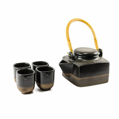 Chinese black teapot and teacups
