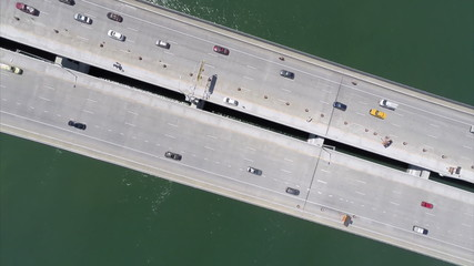 Aerial video spinning over the bridge