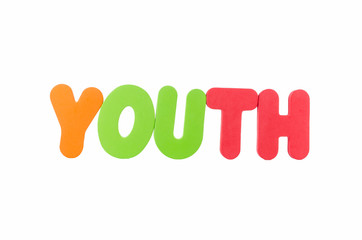 the colorful word YOUTH