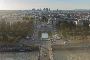 View of river Seine, Trocadero and La Defense from the Eiffel to