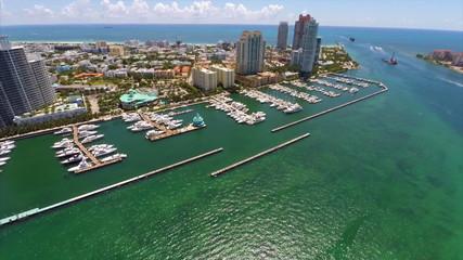 Aerial video Miami Beach Marina