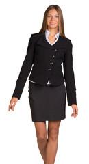 Businesswoman walks forward