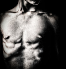Black and white image of a nude male torso