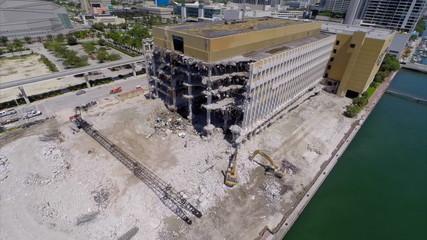 Miami Herald Building destruction Miami aerial video