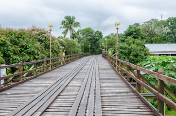 old wooden Mon Bridge in Sangkhla Buri
