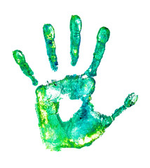 handprint in grunge style on an isolated white background