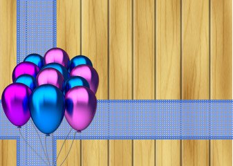 blue and purple party balloons with ribbon on wooden background