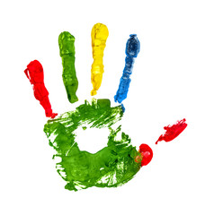 green handprint with colored fingers on an isolated white backgr