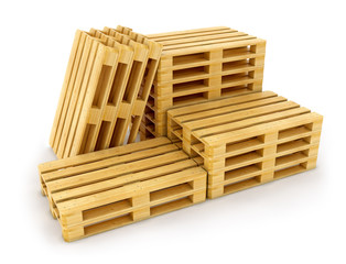 Open wooden box without lid on pallet. Packing signs print.
