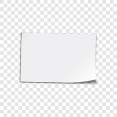 Paper sheet on transparent background