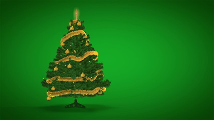 Gold Christmas Tree on green background