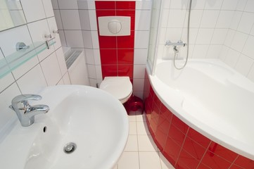 Modern red white generic bathroom