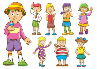 set of cartoon kids.