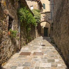 old street in Val D'orcia city in Tuscany