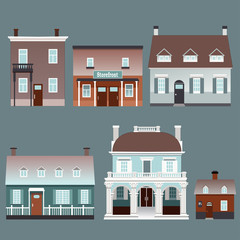 Set of small traditional European buildings