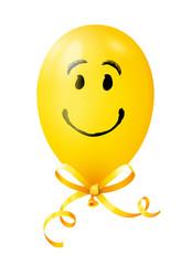 Smiley Luftballon mit Schleife - Gelb