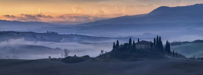 old tuscany villa in twilight lights